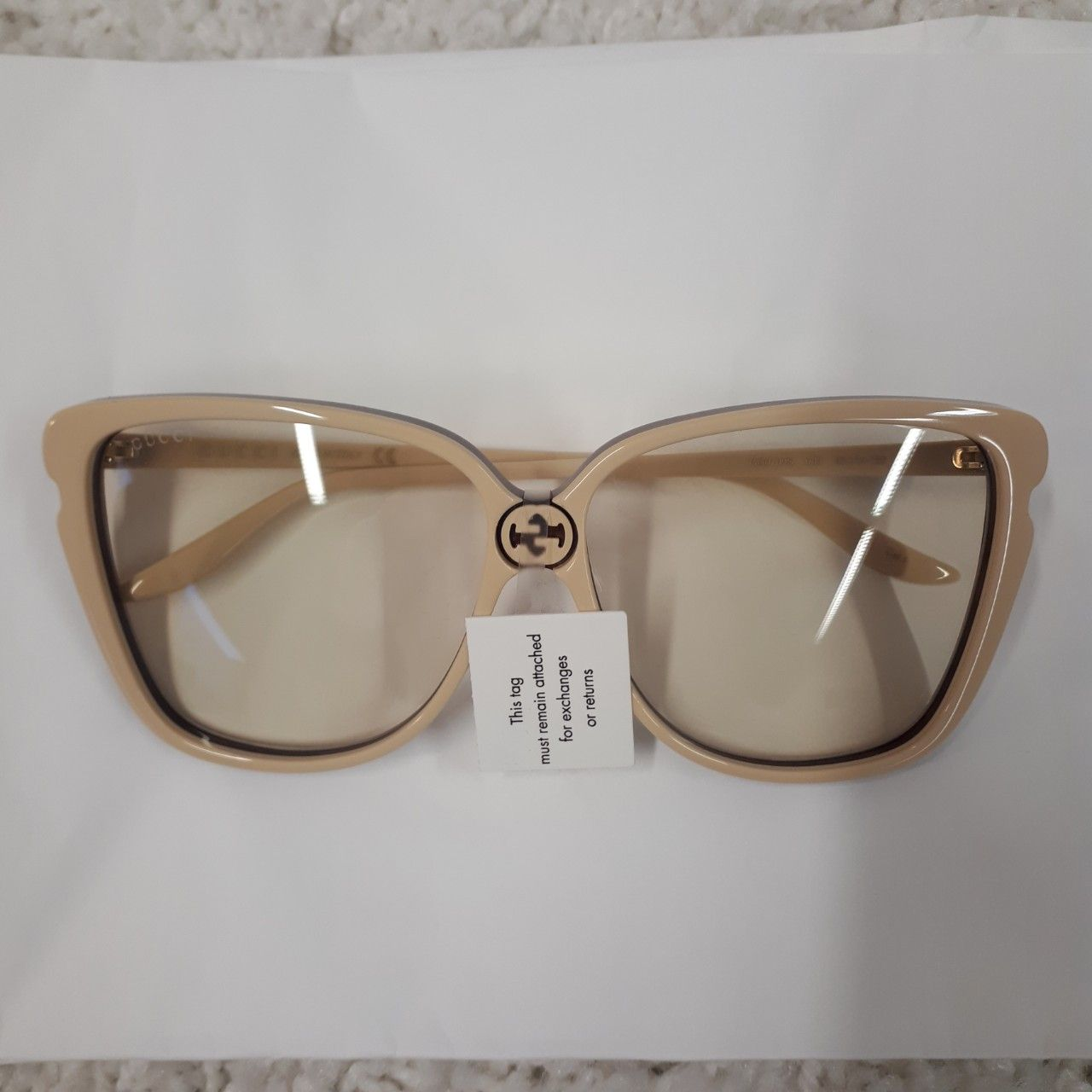 Gucci Square acetate sunglasses ivory acetate Style # 610893 J0740 9274