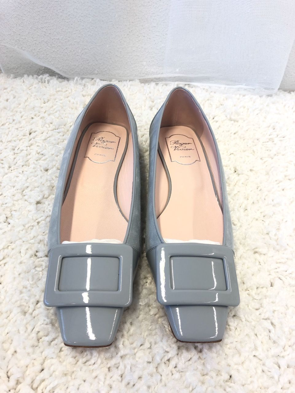 Roger Vivier 벨 Belle Vivier suede and leather ballet flats P00394365