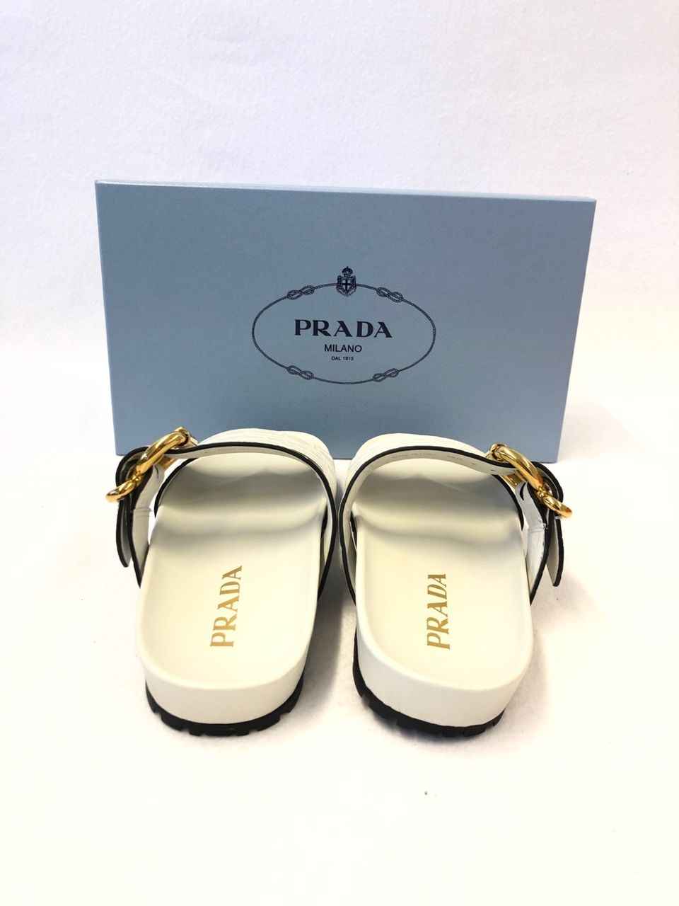 Prada Croc-effect leather slides P00404246