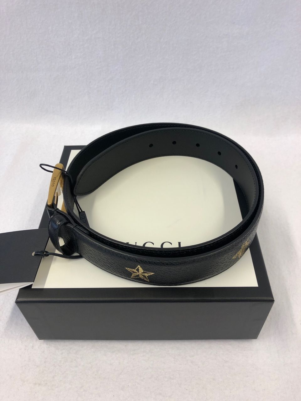 Gucci Bees and stars belt black leather Style # 495125 DJ2KT 8474