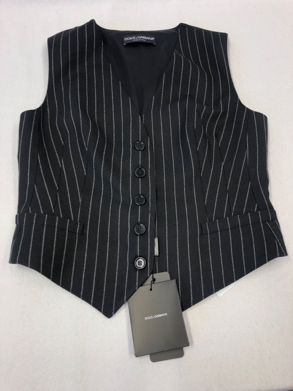Dolce & Gabbana Striped wool-blend vest P00442816