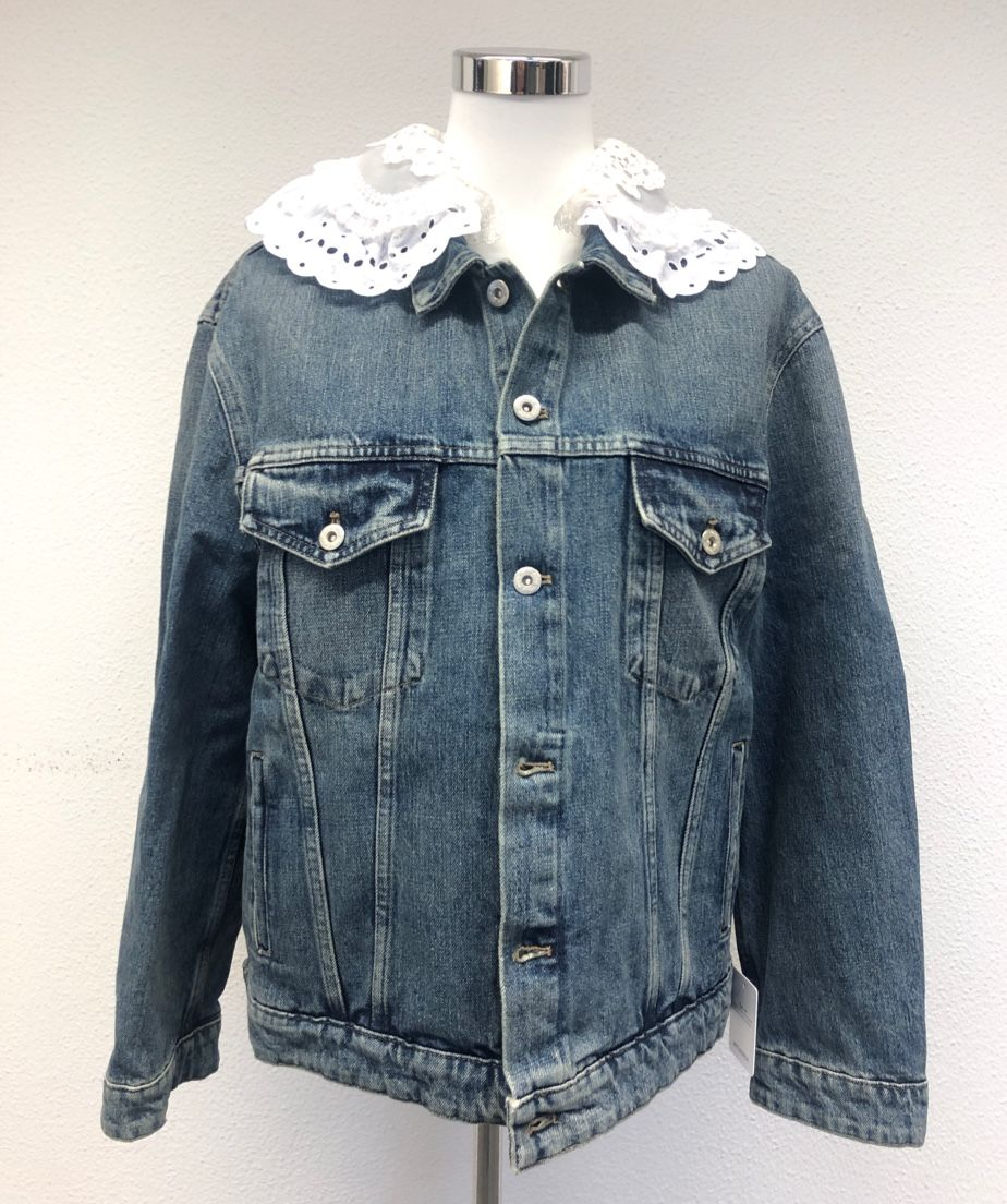 Miu Miu Lace-trimmed denim jacket P00497499