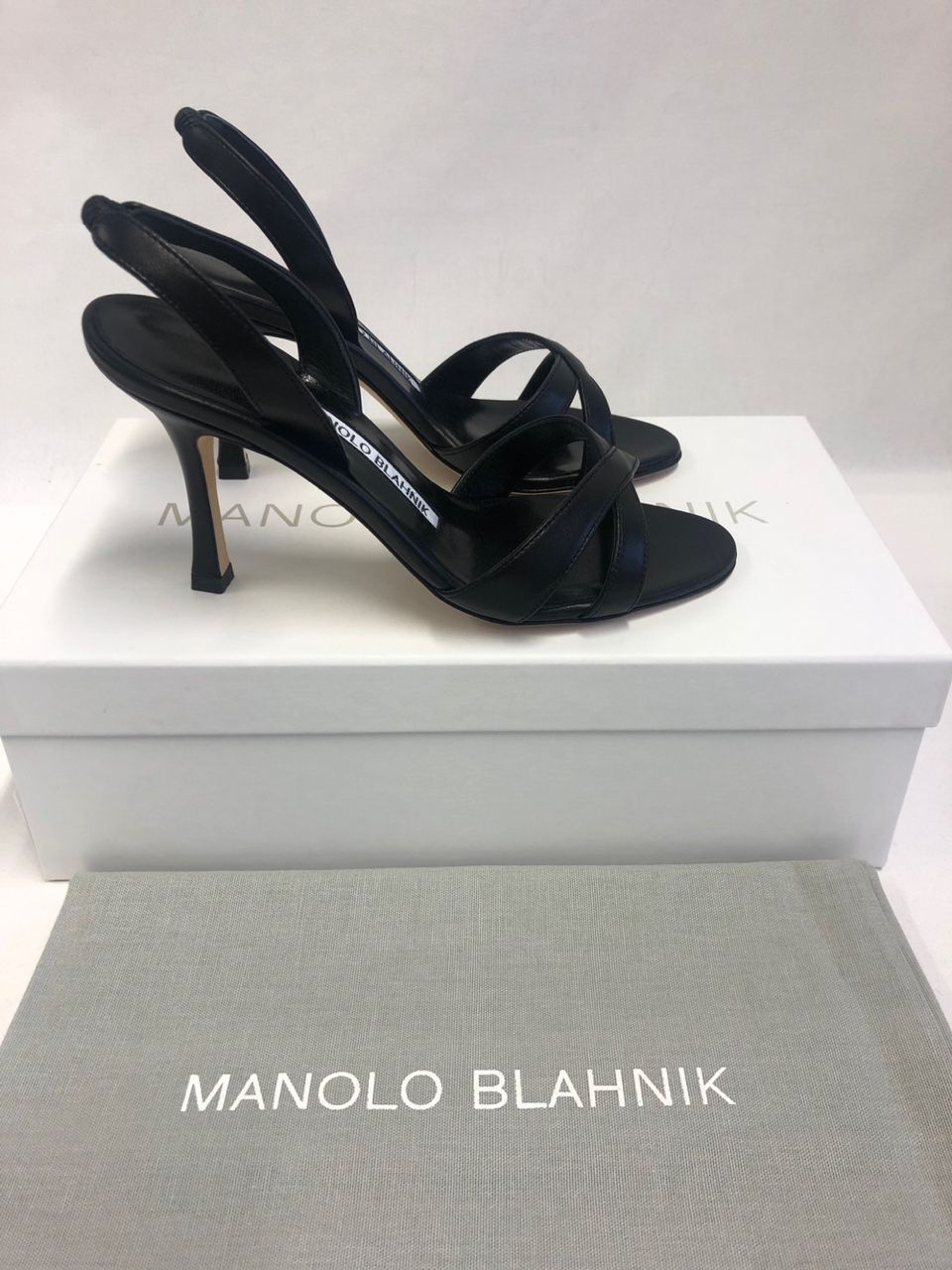 Manolo Blahnik Callasli leather slingback sandals Black 1283924