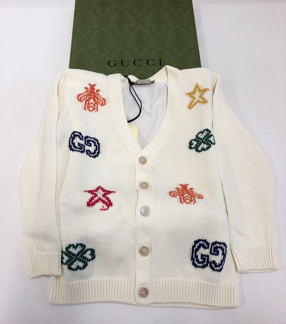 Gucci Baby cotton cardigan with symbols white Style # 639457 XKBMX 9061